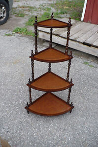 Vintage Corner Display Stand Wood Furniture Leather Inserts Used