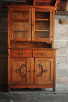 Antique hardwood hutch-2 pieces-attached with bracket