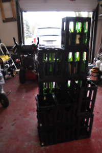 Wine bottles and hard plastic carriers
