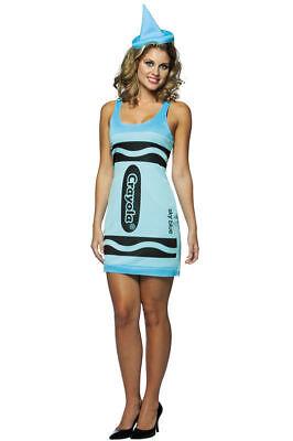 Blue Crayon Halloween Kostüme (Rasta Imposta Sky Blue Crayola Crayon Women's Halloween Costume Size 4-10 NEW)