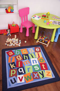 Fun Educational Square Navy Colourful Letters Alphabet Kids Rug Childrens Mat