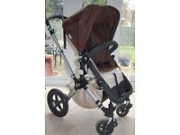 Bugaboo Cameleon 2nd Generation stroller (dark brown/sand) plus buggy board, in excellent condition