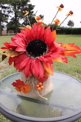 Sunflower Burlap Arrangement Centerpiece Fall Wedding Table Decor New Red - Wedding Table Arrangements