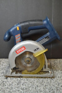 RYOBI 18 VOLT CIRCULATING SAW C/W BATTERY AND CHARGER