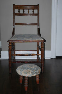 Antique Chair & Stool / Chaise & tabouret antique  NEGO