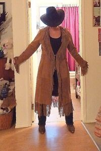 STUNNING LADIES  long SUEDE fringed coat