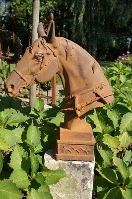 Pferdekopf Skulptur Dekoration Pferdebüste Pfosten Pferd Reiter Pferdestall Rost
