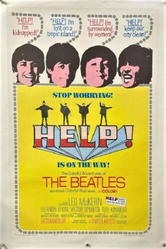 Help Original Movie Poster - The Beatles 1965 Linenbacked  *Hollywood Posters*