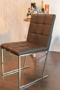 Set of 6 High End Modern Brown Leather Chairs ($81/chair)