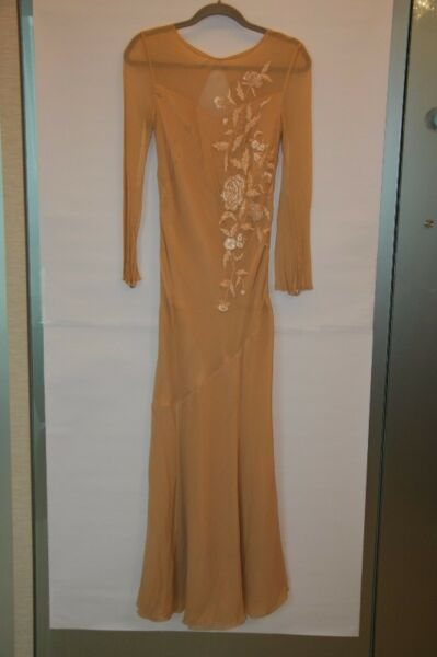 SATINE Evening Gown with long sleeves - Peach