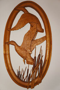 "COMMISSIONED PIECE ""DUCKS IN REEDS"" WOOD CARVING"