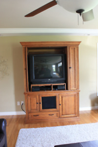 Oak Television Cabinet and Televison