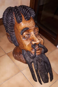 Large Jamaican Wooden Carved Head