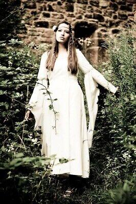 Weißes Mittelalterkleid mit Kopfschmuck Kostüm Mittelalter Gothic WGT ()