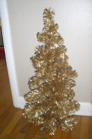 gold 3 foot tall xmas tree with pink vintage victorian style