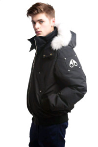 Black Moose Knuckle Bomber White Fur Small