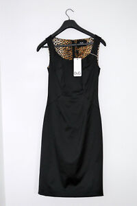 Dolce and Gabbana D&G black pencil dress with leopard interior size 40