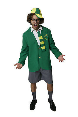 FANCY DRESS GREEN AND YELLOW SCHOOL BOY OUTFIT - FITS UP TO 44
