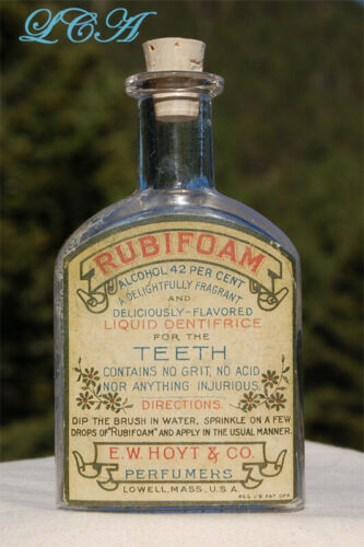 Antique RUBIFOAM liquid dentifrice FOR the TEETH old DENTAL TOOTH paste bottle