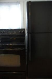 Réfrigérateur et une cuisinière GE vitro les deux noir