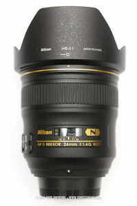 Nikon NIKKOR 24mm f/1.4 AF-S ED N like new BOXED with RECEIPT