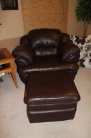 Dark brown leather couch, ottoman and footrest