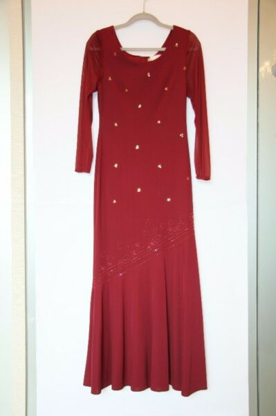 LA MODA Evening Gown with long sleeves (size 40) - Maroon