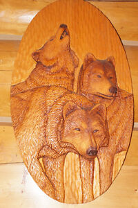 "COMMISSIONED PIECE ""THE WOLVES"" WOOD CARVING"