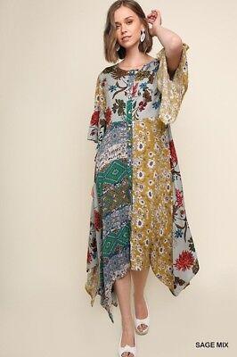 Umgee Mix Print Floral Bell Sleeve Button up Maxi Dress with Sharkbite Hem ()