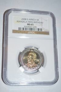 2008 NGC Graded Five Rand South African Nelson Mandella Coin Peterborough Peterborough Area image 1