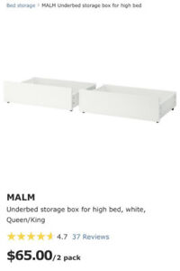 Malm under bed storage for queen/king bed