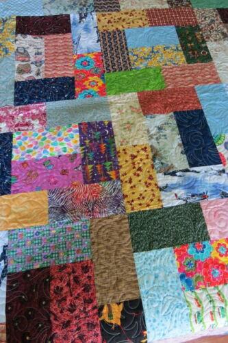 "Handmade Pieced Scrappy Sampler  Quilt Throw Lap Blanket  78"" x 62"""