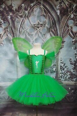 Tinkerbell Tutu Dress (Tinkerbell fairy tutu dress with wings party dress (Tinkerbel, Tinker)