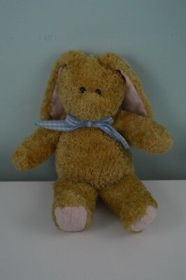 Princess Soft Toys Bunny Rabbit Plush Stuffed Animal Blue Gingham Bow Tan 16""