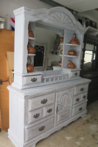 Rustic cottage style refinished Buffet hutch sideboard display