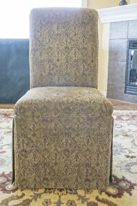 Two beautiful skirted accent / dining / occasional chairs