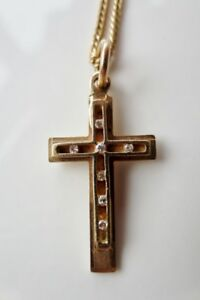 14K Solid Yellow Gold Diamond Cross Pendant Necklace
