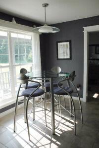 Modern Bar Height Table, 4 Chairs, Matching Light