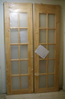 "NEW, NEVER USED PINE FRENCH DOORS - 2 x 24"" - 4 fT. OPENING"