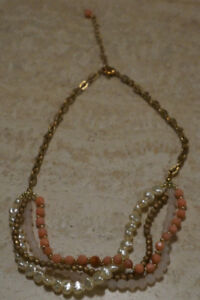 Coral pink/gold/white layered bead necklace, earrings