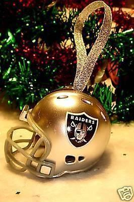 OAKLAND RAIDERS CHRISTMAS BELL NFL FOOTBALL HELMET ORNAMENT ](Football Ornaments)