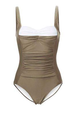 Heine Damen Badeanzug, taupe-weiß, D-Cup, Größe 50 **NEU** Cup-größe