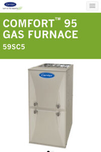 Carrier high efficiency gas furnace w Carrier Evap cased coil