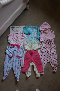 Girls winter clearout 9 mo + 12 mo. 23 items for $25