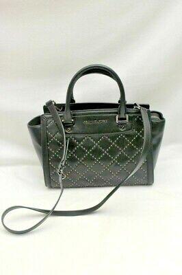 Michael Kors Selma Stud Quilt Leather Crossbody Satchel Black Bag Purse Handbag