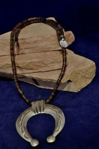 "Vintage Navajo necklace, c. 1960 with large Sand Cast  3 1/8"" h Naja pendant"