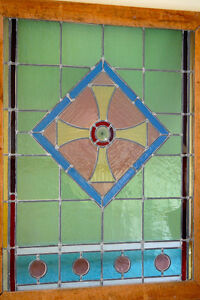 Antique STAINED GLASS WINDOW from U of T Architectural Building