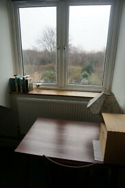 Bedsit with fine views for mature, quiet, tidy single professional. Top flr. share kit & shower.