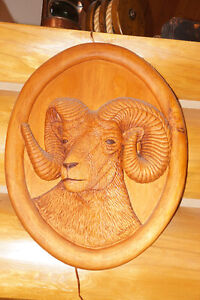 "COMMISSIONED PIECE ""THE RAM"" WOOD CARVING"