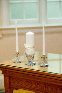 Wedding Unity Candle Holder Set and Cake Cutting Set